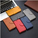Solid color lambskin pu leather phone case